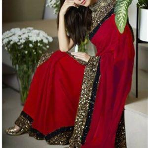 Red gold & black saree